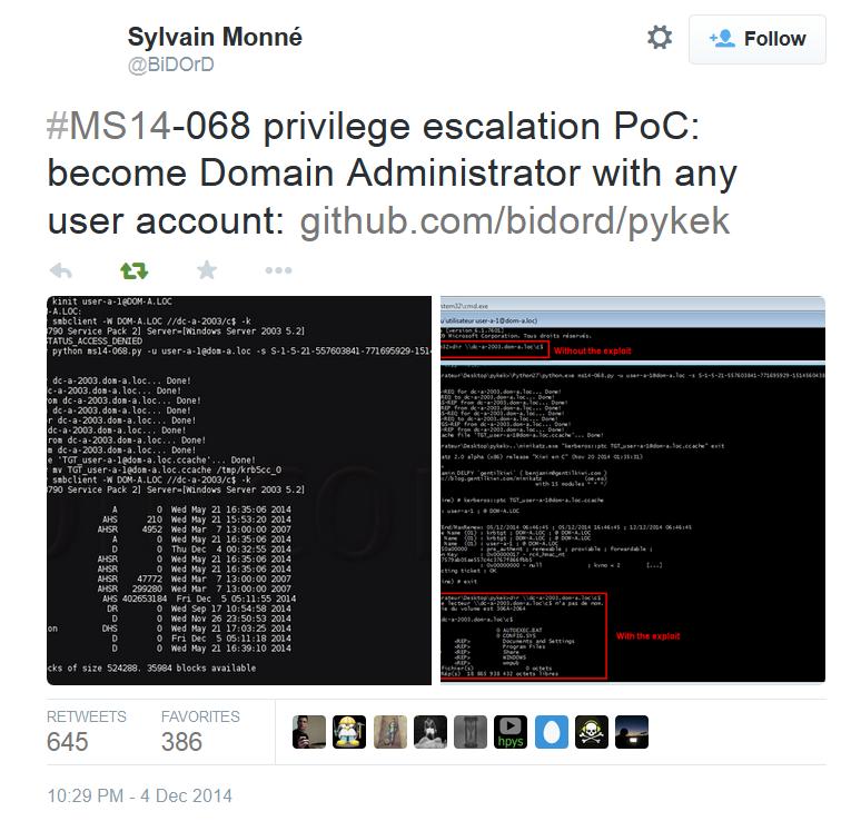 MS14-068 Kerberos Vulnerability Privilege Escalation POC