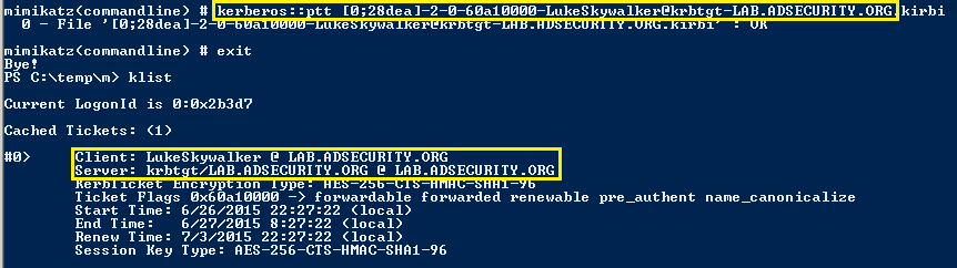 KerberosUnConstrainedDelegation-Mimikatz-PTT-LS-Ticket2