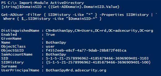 SneakyPersistence-SIDHistory-BothanSpy-SIDHistory-PowerShell-SameDomainDetection