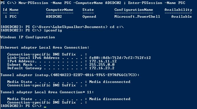 PowerShell-Remoting-Connect-To-ADSDC02