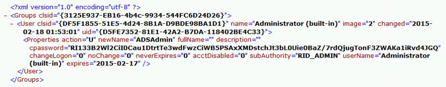 SYSVOL中的XML文件内容