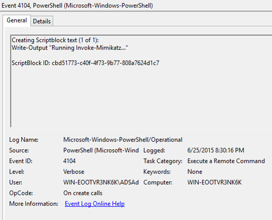 PowerShellv5-Security-ScriptBlockLogging-InvokeMimikatz-PowerShellEvent-4104