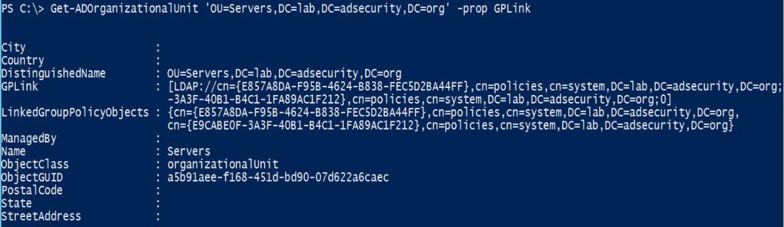 GPO-OU-LinkedGPOs-PowerShell-GetADOrganizationalUnit