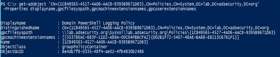 GPO-Policy-Object-Attributes-PowerShell-GetADObject